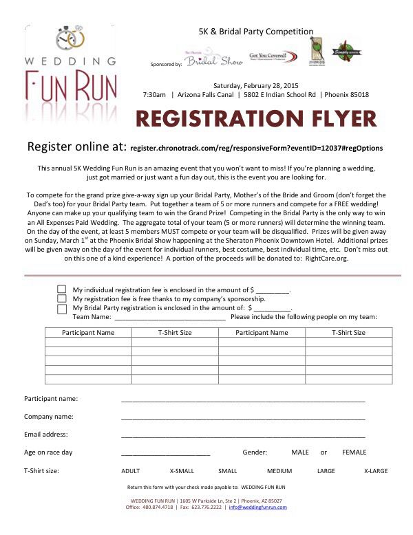 Registration form wedding fun run 5k 1 mile walk for Cool places to register for wedding