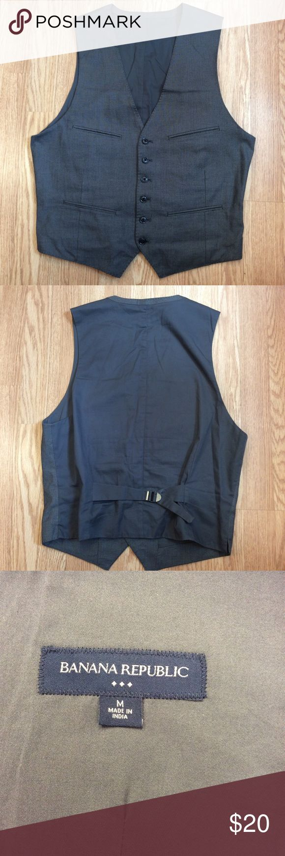 Banana Republic men's vest great for weddings Banana Republic men's vest size M, great wedding attire.  4 pockets on front, buttons up.  Good used condition.  Questions??? Please ask Banana Republic Jackets & Coats Vests