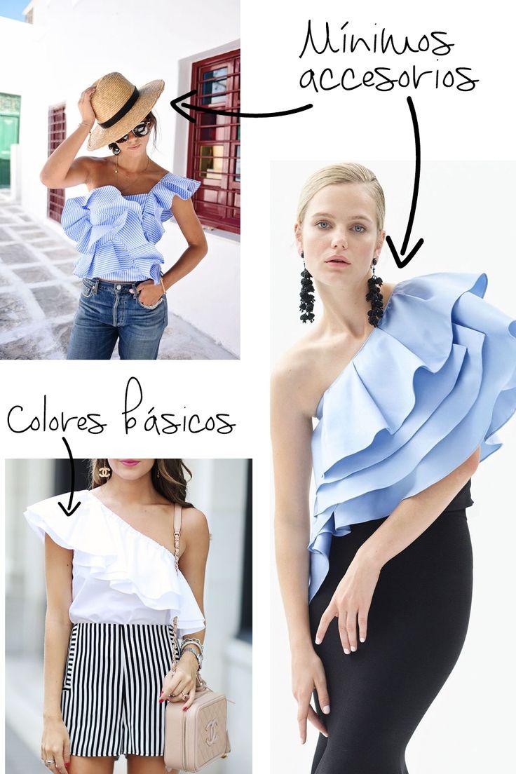 Cómo combinar una blusa con olanes
