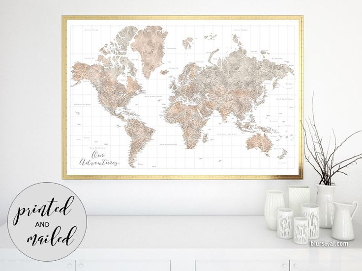 """60x40"""" map print, large world map poster, highly detailed world map, watercolor our adventures map for push pin marking travels - map149 035 by blursbyaiShop on Etsy https://www.etsy.com/listing/285905149/60x40-map-print-large-world-map-poster"""