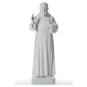 San Padre Pio 110 cm polvere di marmo bianco | vendita online su HOLYART