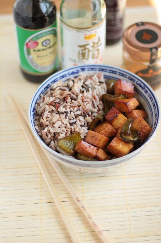tofu et poivrons marinés au miel - honey marinated tofu and peppers VEGAN