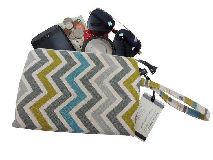 Chevron Cell Phone Purse - Iphone Wristlet - Smartphone Clutch - Wrist Strap Purse - Wristlet Wallet - Gift Ideas for Her by TalfourdJones on Etsy