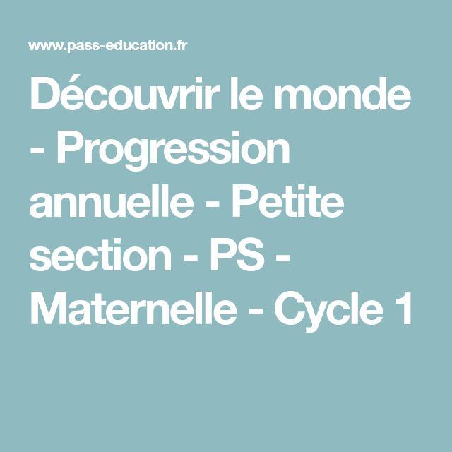 Découvrir le monde - Progression annuelle - Petite section - PS - Maternelle - Cycle 1