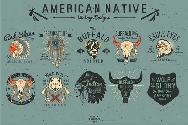 Native American Vintage Badges by inu mocca, via Behance: