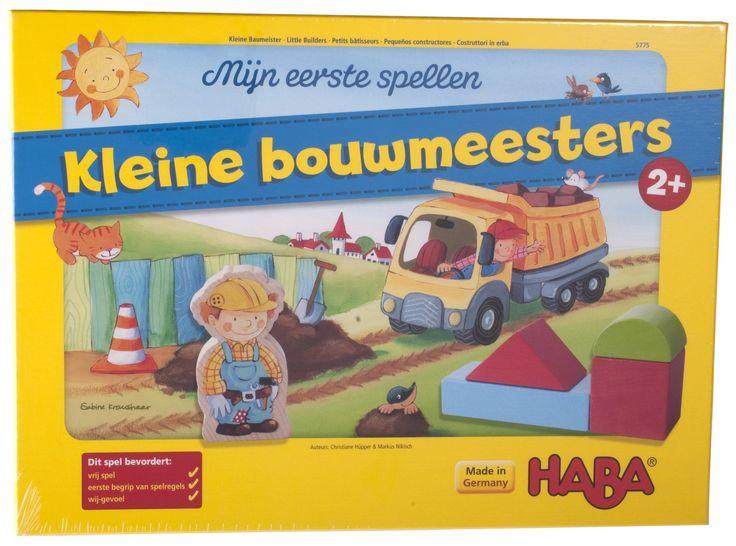 Haba+Mijn+eerste+spel:+kleine+bouwmeesters+2++-+Bruno+is+opzichter+bij+een+groot+bouwproject.+Hij+heeft+een+heleboel+ontwerpen+voor+kleurige+huizen+die+vandaag+allemaal+nog+af+moeten.+De+kinderen+helpen+bouwvakker+Tim+nieuwe+stenen+van+de+steengroeve+naar+het+bouwterrein+te+vervoeren.+Maar+de++tijd+verloopt+sneller+dan+gedacht.+Lukt+het+jullie+om+jullie+huizen+te+bouwen+voordat+de+werkdag+van+Bruno+en+Tim+erop+zit?+