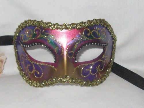Multi Color Colombina Arco Venetian Masquerade Mask by Venice Buys - Venetian Masks. $29.95. Black Satin Ties. Comes with Tag of Authenticity. Hand made and hand decorated in Venice, Italy. Gold glitter and rhinestones accents. This unique mask is great for a female or male face! The multi-color design and stunning jewels go with any outfit. The mask is perfect for masquerade parties, balls and a variety of other occasions! Hand made and hand decorated after t...