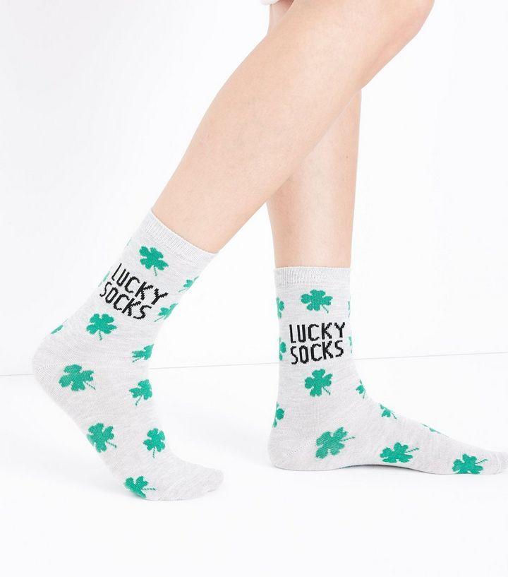 Z2018  Pale Grey Clover Pattern Lucky Socks | New Look