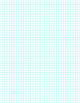 This letter-sized graph paper has four aqua blue lines every inch. Free to download and print