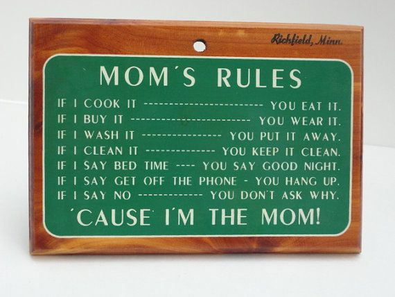 Vintage House Rules Sign Mom's Rules Wood Painted by metrocottage, $16.50