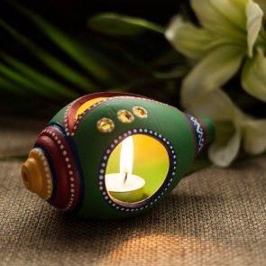 Shankh Shaped Terracotta Handpainted Tea Light Holder