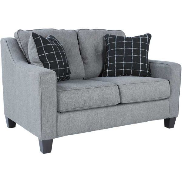 $318, 58 inches wide, grey loveseat from american furniture warehouse.  Will swap the pillows with the ones we have in the living room right now.   Brindon Charcoal Loveseat PP-539L