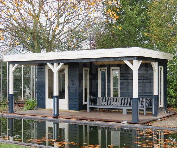 Lugarde plat dak tuinhuis Prima Bremen 420x600cm. Uitgevoerd met een dubbele deur PE45 en 4 ramen PJ07. Standaard geleverd inclusief dubbel glas en 4x sokkels.