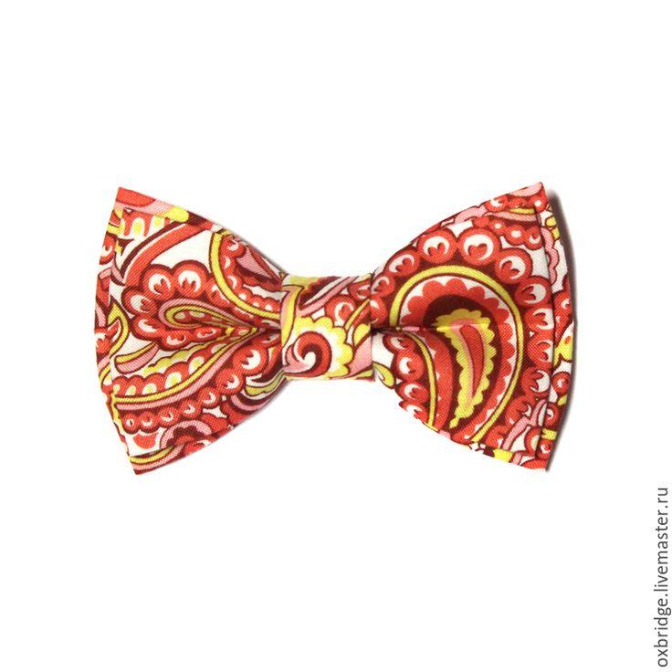 Купить Галстук бабочка кораллового цвета / Бабочка галстук / Бабочка пейсли