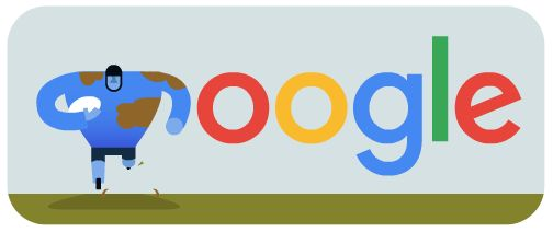 Google celebrates the kick off of the 2015 Rugby World Cup in London today.