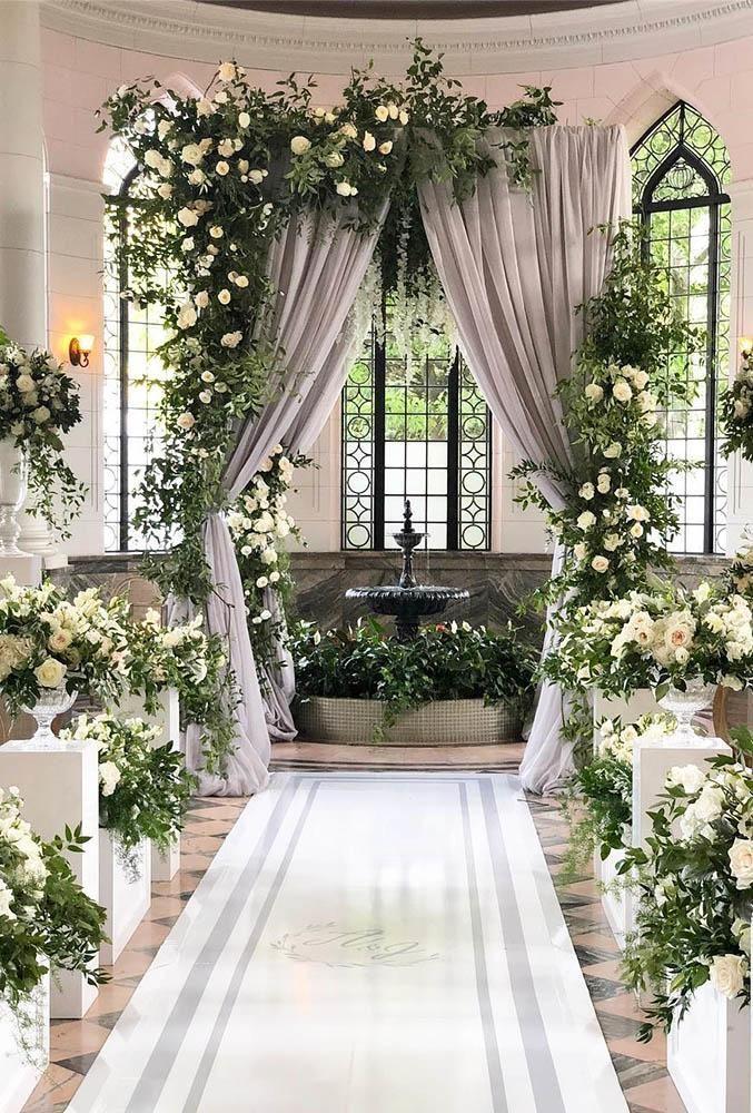 21 Chic Wedding Flower Decor Ideas Wedding Forward Wedding Ceremony Backdrop Indoor Wedding Flower Decorations Indoor Wedding Ceremonies