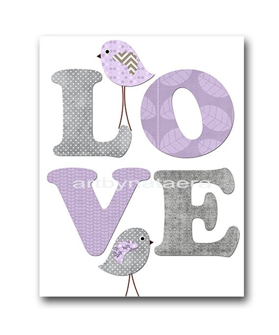 Kids wall art Bird Nursery Baby Nursery Decor Baby Girl Nursery Kids Art Baby Room Decor Nursery Print Girl Print 8x10 love lavender gray