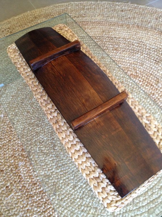 Large rustic wine barrel bowl or platter made by UpcycledWoodOZ