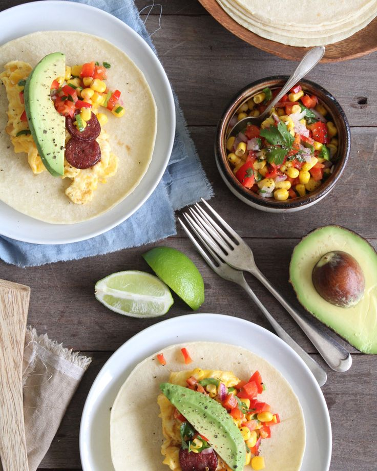 Breakfast soft tacos - This makes a wonderful shared family brunch. Little ones love eating with their hands and building their own tacos, and there's lots of fresh flavour here to keep adults very happy too.