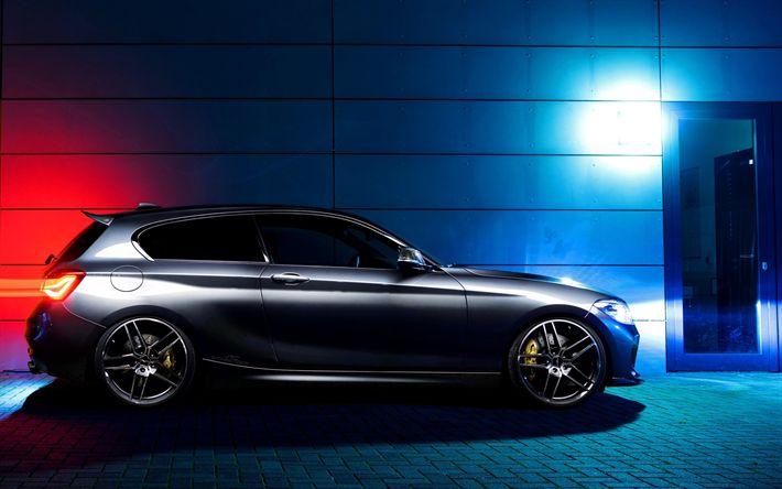 Indir duvar kağıdı 3 BMW 1 Serisi kapı, gece, f21 saldırısı, 2017 arabaları, Alman arabaları, BMW