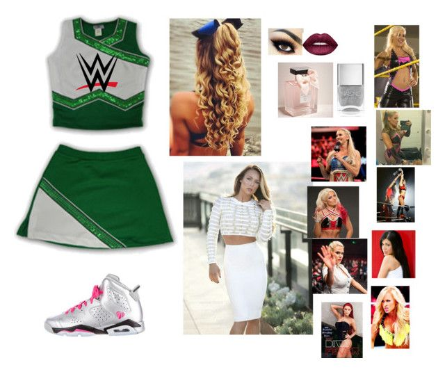 """WWE High Cheersquad and uniform"" by thefuturemrsambrose ❤ liked on Polyvore featuring WWE, NIKE, Lime Crime, Abercrombie & Fitch, Nails Inc. and TNA"