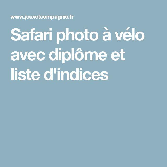 Safari photo à vélo avec diplôme et liste d'indices