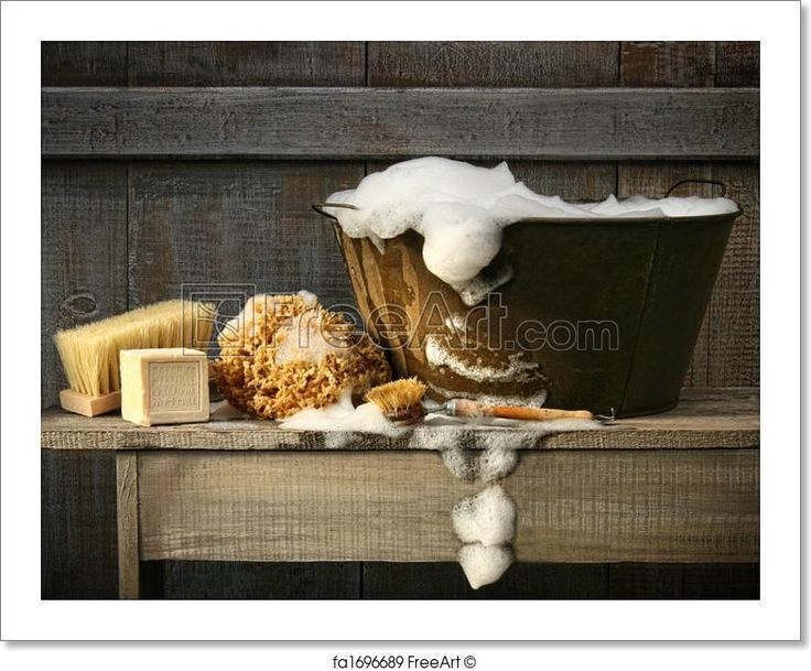 """Old wash tub with soap on rustic bench"" - Art Print from FreeArt.com"