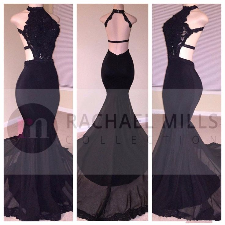 Modest Backless Black Prom Dresses Mermaid 2017 Halter Robe De Soiree Formal Party Dress Celebrity Evening Gowns Free Shipping