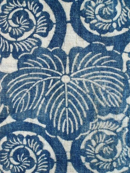Antique Japanese folk textiles, highlighting the indigo-dyed cotton utilitarian fabrics and boro - Sri