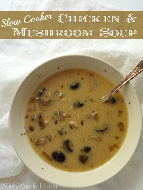 Slow Cooker Recipe - Chicken and Mushroom Soup ::: wonkywonderful.com #slowcooker #soup