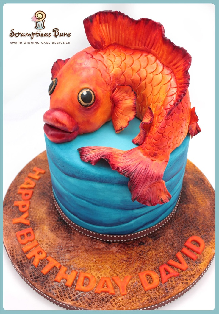 Painted Fish Birthday Cake, by Scrumptious Buns x