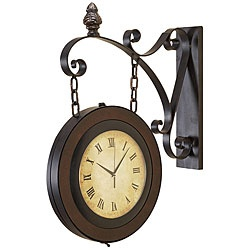 Large Handcrafted Hanging Double Face Clock -- this is the one!  Will look so great between my living room and dining room!   It reminds me of the old clocks from train stations!  Overstock.com has it!