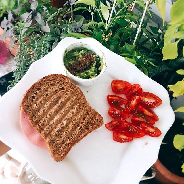 Keten tohumlu Avokado sis eşliğinde hindi salamlı lor peynirli çiya tost  Pilates öncesi sandvicim 😍 2 dilim hindi salam 1 yaprak marul Ezine peyniri  Közlenmiş biber Ketçap 2 dilim çiya tohumlu ekmek…