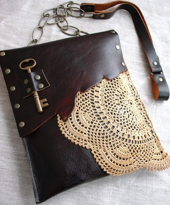 great mix of mediums - leather and lace.