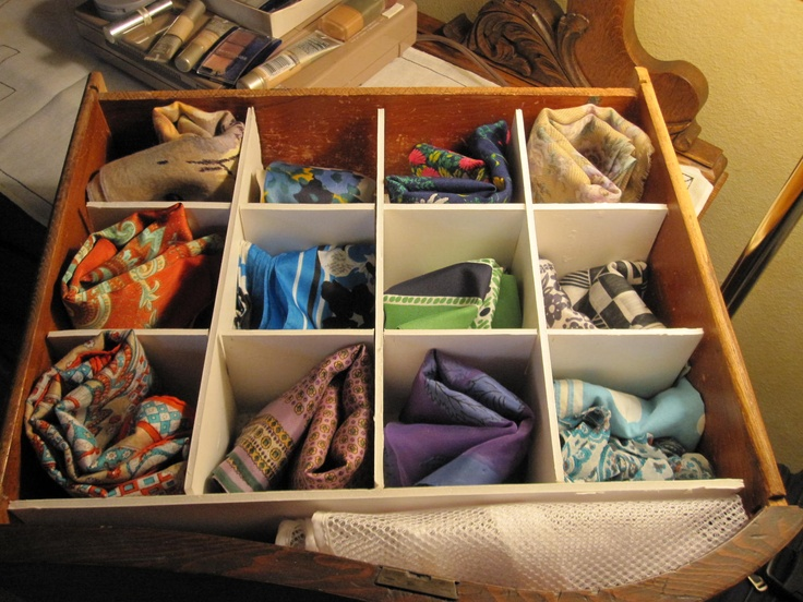 New Organizations for my square scarves.  Cut it section of foam board to make the grid for the drawer.  It was a rainy day and this was an idea for the scarf storage.