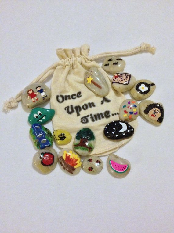 Storytelling Stones w/ Cloth Bag (15 pcs) $25 Storytelling Stones are a great way to facilitate story time with your little ones! Make up a special story for them or take turns choosing a stone and let them wow you with their creativity and imagination.