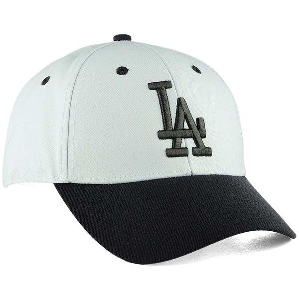Los Angeles Dodgers '47 MLB 2Tone White/Charcoal '47 MVP Cap ❤ liked on Polyvore featuring accessories, hats, la dodgers hat, mlb logo hat, cap hats, mlb baseball hats and summer hats