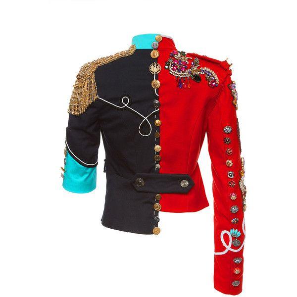 Asymmetrical Ornate Jewel Cropped Jacket   Moda Operandi ($10,690) ❤ liked on Polyvore featuring outerwear, jackets, jeweled jacket, beaded jacket, embellished jacket, cropped jacket and asymmetrical jacket
