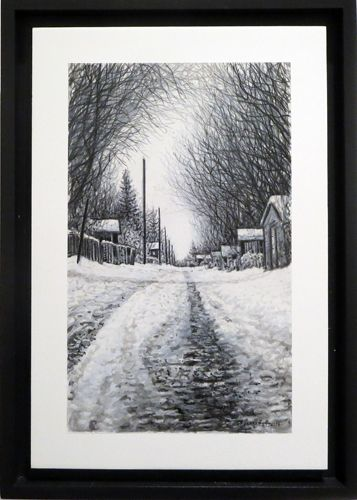 "Wilf Perreault - Winter Tracks. Acrylic on aluminium composite board, 10 x 6.25""."