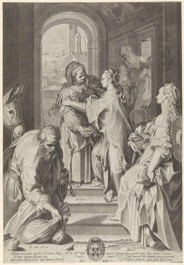 Gijsbert van Veen   Visitatie, Gijsbert van Veen, Scipione Gonzaga, 1588   Maria en Elisabet begroeten elkaar op de trappen van een huis. Op de voorgrond Jozef bij de ezel en een dienstmaagd met een mand met twee duiven. Onder in het midden een kardinaalswapen.