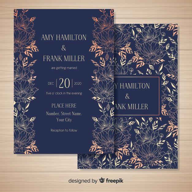 Hand Drawn Floral Wedding Card Template Free Vector Freepik Freevector Pat In 2020 Invitation Card Printing Wedding Invitation Card Design Wedding Card Sample