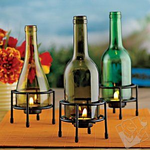 Recycled Wine Bottle Tealight Holder $29.99Ideas, Candles Holders, Teas Lights, Recycle Wine Bottle, Recycled Wine Bottles, Wine Bottle Candles, Recycle Bottle, Winebottle, Cut Glass