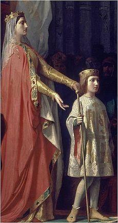 María de Molina (1284-1295) (Tres veces Reina: Reina consorte de Castilla, Reina madre y Reina abuela) y su hijo Fernando IV de Castilla. Detalle del cuadro de Gisbert.jpg