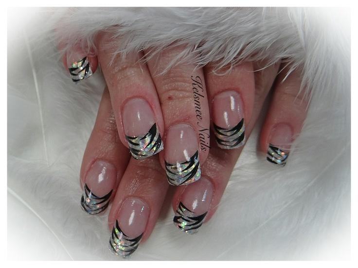 Young Nails acrylic glitternails zebra print