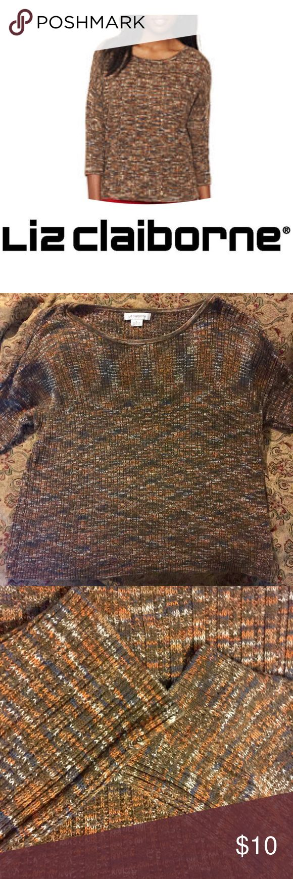 Liz Claiborne Comfy Fall Sweater Liz Claiborne comfortable cotton fall sweater. Size L. Perfect fall colors! Perfect for fall outings, such as a trip to the pumpkin patch! Looks great with jeans. In good used condition. No pulls! Cover photo for reference only. From a smoke free 🚫💨 and pet 🐶🐱🐦 friendly home 🏡. Liz Claiborne Sweaters
