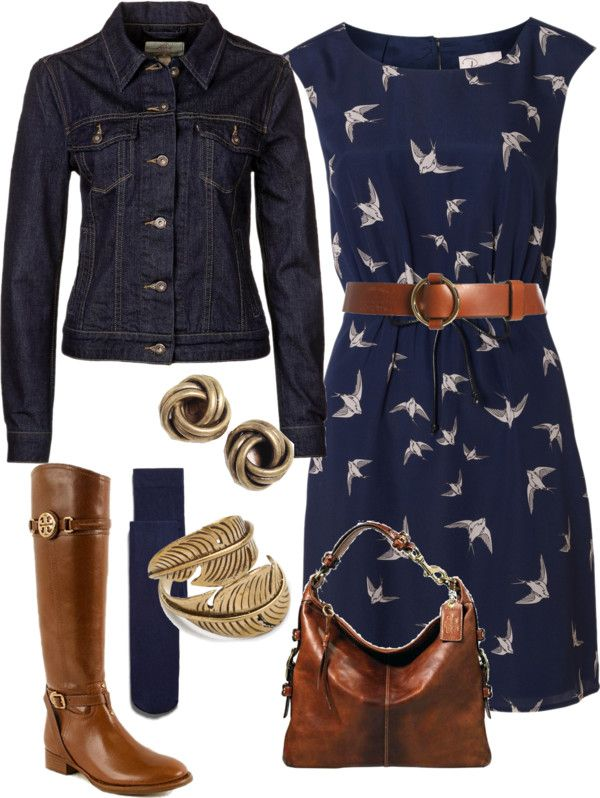 navy print dress + camel and dark jean jacket