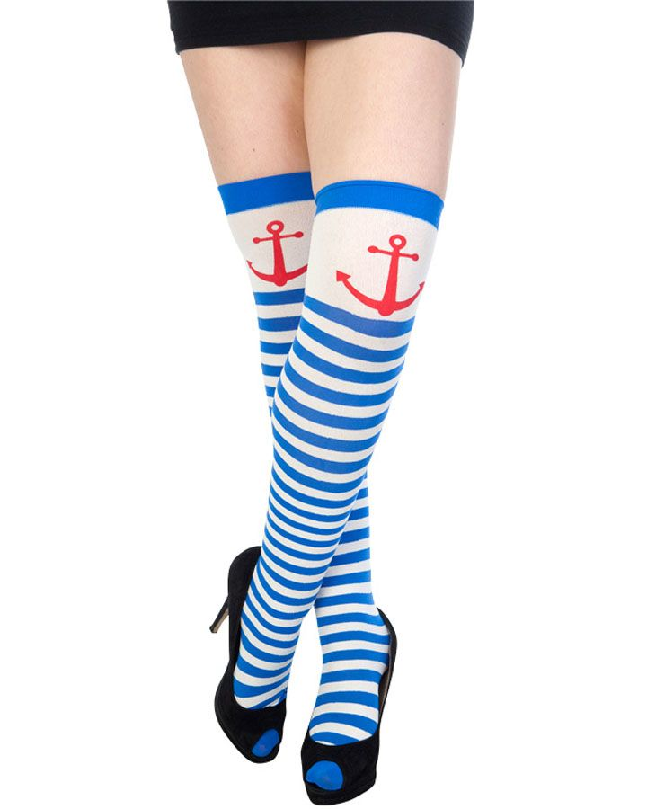 WOMAN/'S SAILOR STRIPED OVER THE KNEE SOCKS  ROYAL BLUE AND WHITE TIGHTS