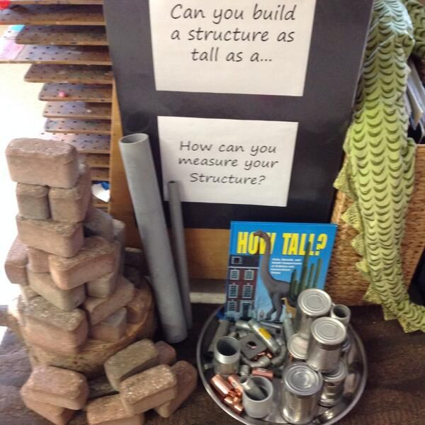 Twitter. Construction & measurement provocation with a variety of materials.
