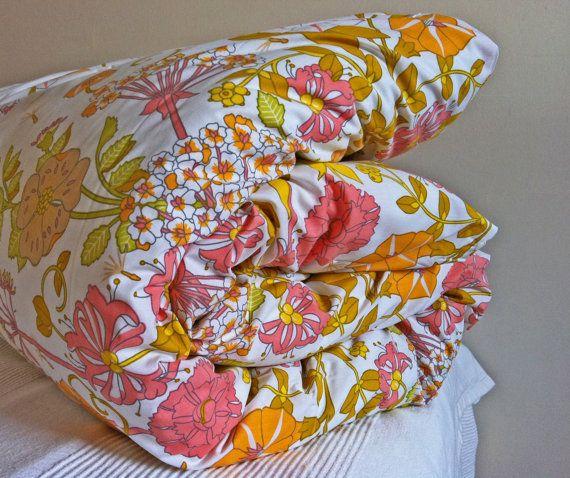 Vintage floral double duvet cover   orange pink by NinasApartment, $59.00