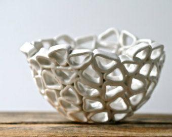 White ceramic fruit bowl contemporary design by GolemDesigns